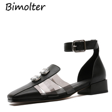 Bimolter Women Mary Jane Shoes Crystal Luxury High Heels Pumps Rhinestone Cow Leather Designer Lady Footwear Black FC066