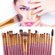 20 Pcs 15 colors Makeup Set Powder Foundation Eye shadow Eyeliner Lip Cosmetic Brushes Kit Makeup Brush TF