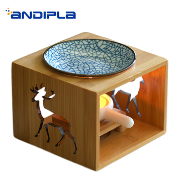 Brief Incense Burner Openwork Bamboo Wooden Aroma Burner Powder for Lady Yoga Essential Oil Fragrant Stove Home Lamps Decoration