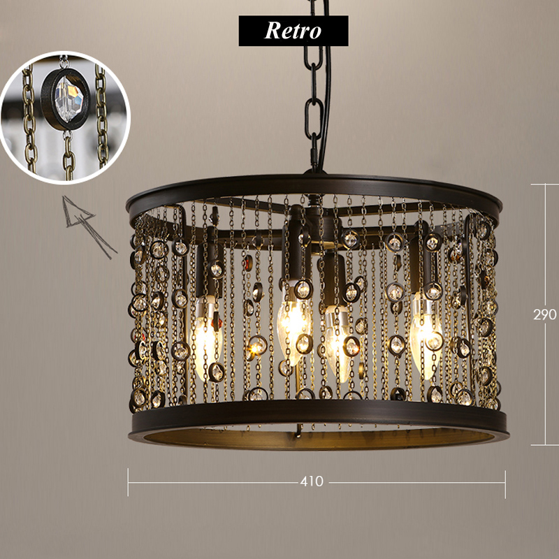 American Vintage LED Crystal Candle Chandelier Iron Tassel Industrial Light Circular Restaurant Bar Crystal Lamp Living Room vintage clothing store personalized art chandelier chandelier edison the heavenly maids scatter blossoms tiny cages