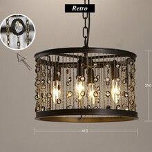 Candelabro de cristal LED Vintage americano con borlas de hierro, Circular para luz industrial restaurante, Bar, lámpara de cristal para sala de estar