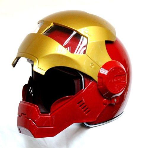 Masei bike scooter moto rosso oro classic iron man casco moto casco mezzo casco aperto del fronte del casco motocross