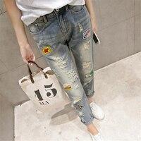 DoreenBow New Fashion Spring Autumn Straight Jeans Denim Fabric HIGHT QUALITY Patchwork Light Blue Hollow Women