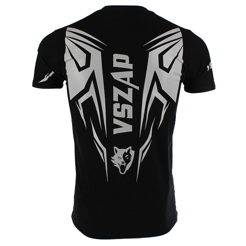 Gray Logo Black Short Sleeve T-shirt Men UFC MMA Clothing VSZAP Shadow Hunter Muay Thai Tees mma Jerseys