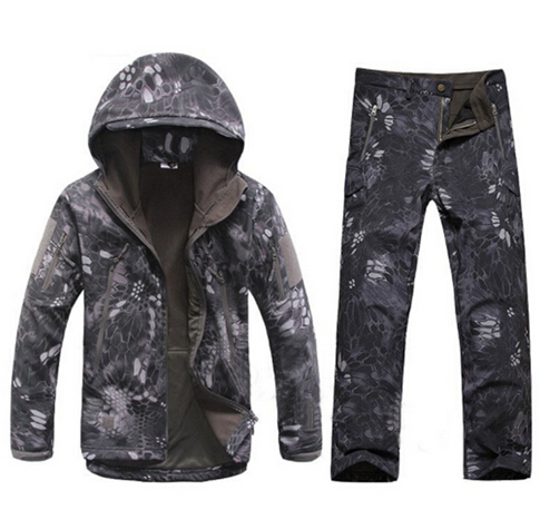 cd9050ac45b2b TAD Kryptek Black Hunting Clothes Tactical Jacket Soft Shell Outdoor Sport Waterproof  Coat Hiking Camping Jacket Trousers Set