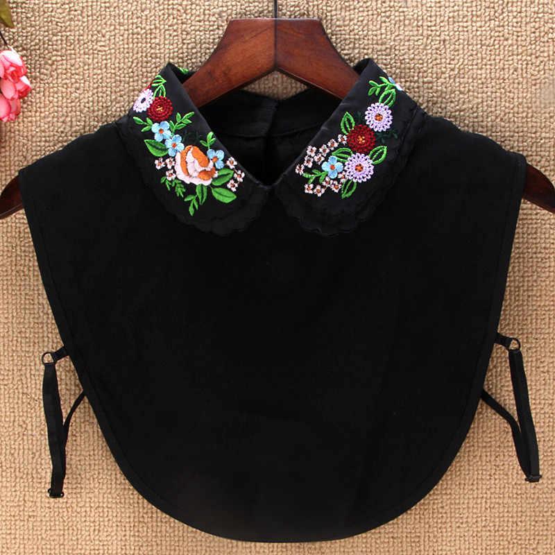 Женская блузка с искусственным воротником и вышивкой, съемный воротник для женщин, аксессуары для одежды, ложный воротник W64