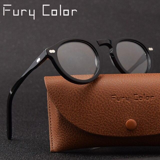 a4ef1a5407 Marco De acetato retro Vintage ojo redondo remache gafas De mujer elegante  marco óptico De gafas