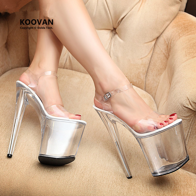 Koovan Women Pumps 2017 Sexy Transparent Glass Slipper Woman Sandals Ultra Women High Heels Shoes 20 cm Thin Large Size 35-44