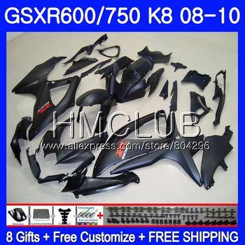 Cuerpo para SUZUKI GSXR 600 GSXR 750 08 10 GSXR600 08 09 10, negro mate 6HM.22 GSX-R750 GSXR-600 K8 GSXR750 2008 2009 2010, carenado