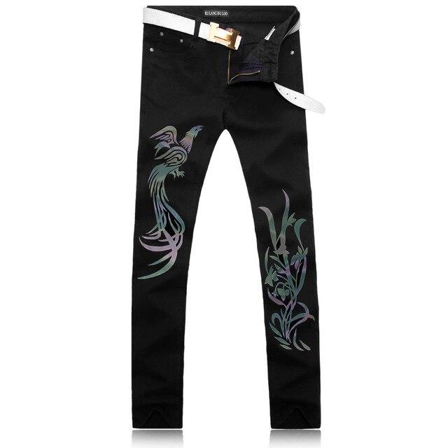 Marque de nuit pour hommes clignotant phoenix motif rue danse jeans décontractés hommes plein de tempérament jeune et à la mode - 4