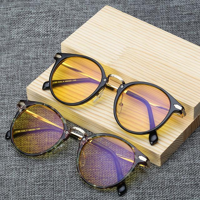 Anti Luz Azul Óculos Feminino/Masculino gd2190 lente Amarela Rodada E Acetato de Óculos Vintage