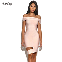 2018 New Women Dress Pink Sleeveless Off The Shoulder Slash Neck Cut Out Bodycon Elegant Ladies Party Mini Bandage Dress Summer