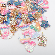 JOJO BOWS Glitter Sequin Patches Shiny Colored Crown Heart Mickey Unicorn Star Accessories Apparel Sewing Material DIY Hair Bows