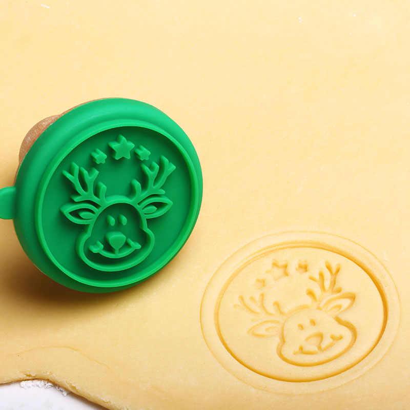 Natal 1 conjunto de silicone diy cookie stamp fondant molde biscoito gravando cortadores de açúcar ferramenta de artesanato abraço-ofertas