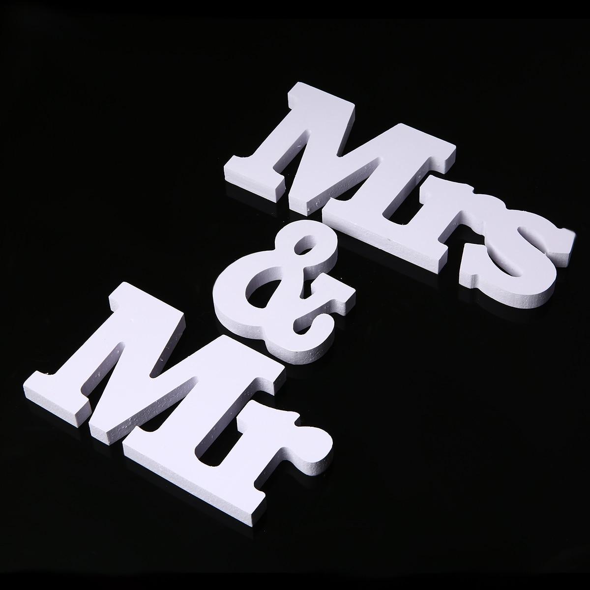 1 Set Mr & Mrs Letters Teken Wit Foto Prop Opknoping Staande Top Tafel Ambachten Voor Bruiloft Decoratie Party Levert