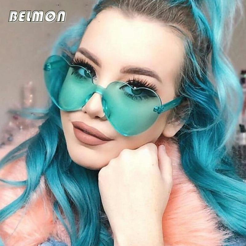 Fashion Luxury Sunglasses Women Brand Designer Rimless Heart-Shape Sun Glasses For Ladies Retro UV400 Female Oculos de sol RS568
