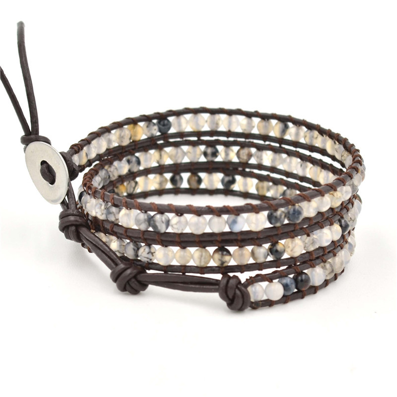 Best Selling 2019 Products Boho Charm Crystal Natural Stone Bracelet Multilayer Leather Beaded Bracelet For Women Men Wholesale in Strand Bracelets from Jewelry Accessories