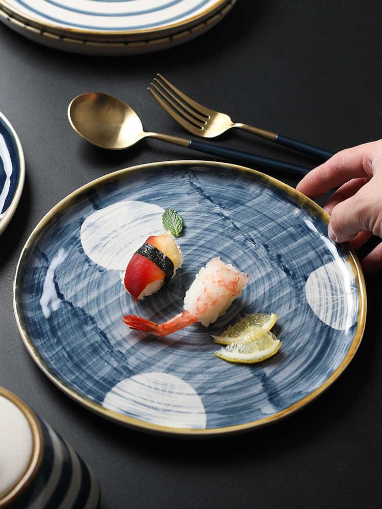1 PCS Hand-Cerâmica Pintada Placa do Estilo Japonês Conjunto de serviço de mesa Pratos Pratos Jogo de Jantar Jogo de Jantar Placa bandeja