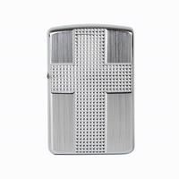 Free Shipping Cigarette Accessories Copper Material Oil Lighter Big Silver Cross Frame Metal Kerosene Lighters