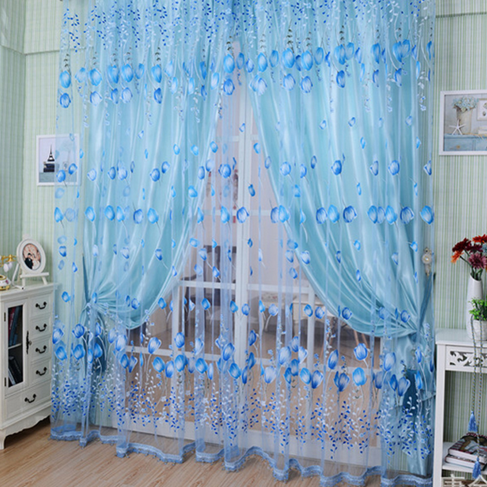Blue bedroom window curtains - Hot New Romantic Tulip Floral Tulle Voile Sheer Door Window Curtains For Living Room Bedroom Decorative Valances Drapes Panel Z1