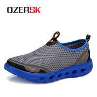 OZERSK hommes chaussures décontractées 2019 nouveau été respirant maille chaussures décontractées taille 35-45 sans lacet doux hommes mocassins à l'extérieur chaussures