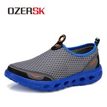 OZERSK mężczyźni obuwie 2020 nowe letnie oddychające siatki obuwie rozmiar 35-45 Slip On miękkie męskie mokasyny na zewnątrz buty tanie tanio Mesh (air mesh) Slip-on Pasuje prawda na wymiar weź swój normalny rozmiar Podstawowe Lato RB251201 Drukuj Cotton Fabric