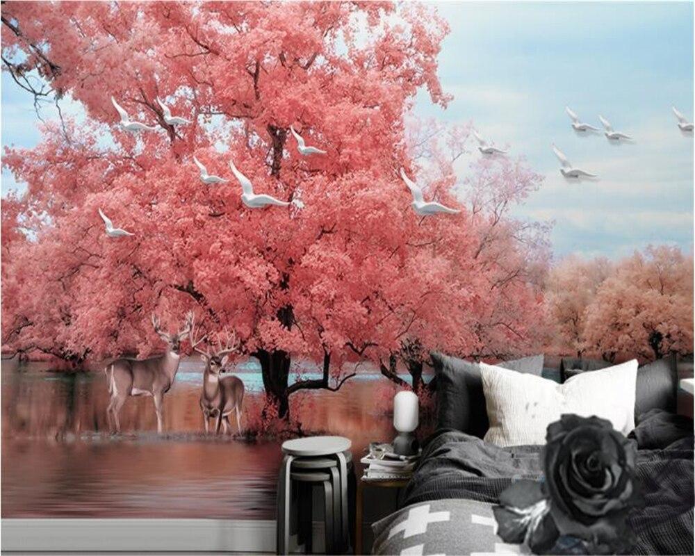 beibehang wallpaper Dreamy Pink Tree Elk Swan Lake Scenic TV Background Wall papel de parede hudas beauty bebang duvar kagit