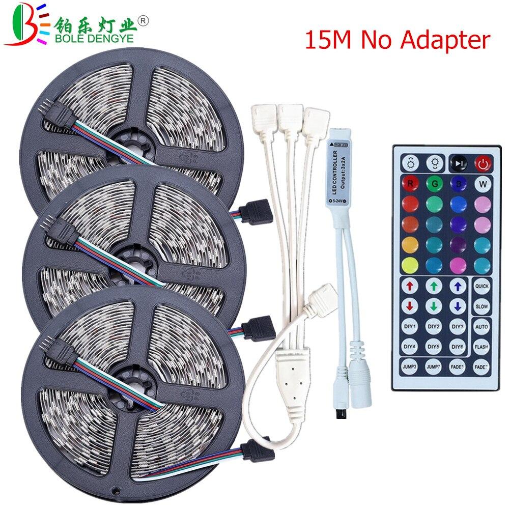 BOLEDENGYE 5M 10M 15M SMD 5050 LED Strip Light 12V 30leds/m Non Waterproof Flexible Tape Ribbon 44key Mini Controller No Power