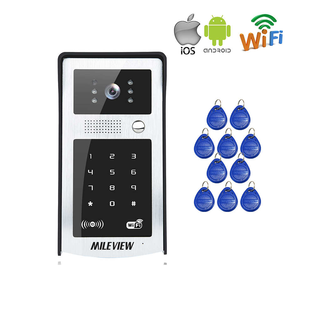 RFID / Code / Keypad Wireless Wifi Video Door Phone Waterproof Doorbell Intercom for Phone Remote Monitor / Unlock Free Shipping free shipping wire 7 lcd monitor video intercom door phone kit waterproof rfid code keypad doorbell camera magnetic lock