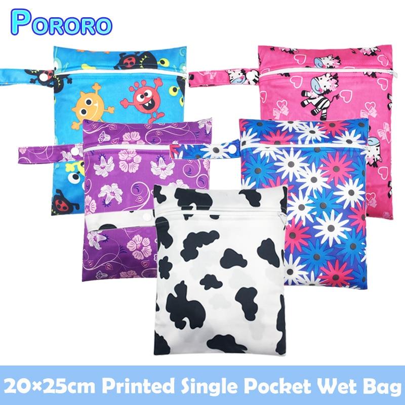 Pororo 20*25CM Single Pocket Baby Wet Bag Waterproof Rusable Summer Travel Printed Small Bag Boy Girl Storage Bag Fashion CUte
