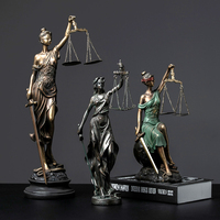 Greek Fair Justice Goddess Resin Statue People Ornaments Retro Crafts Home Decoration Accessories Living Room Desk Decoration