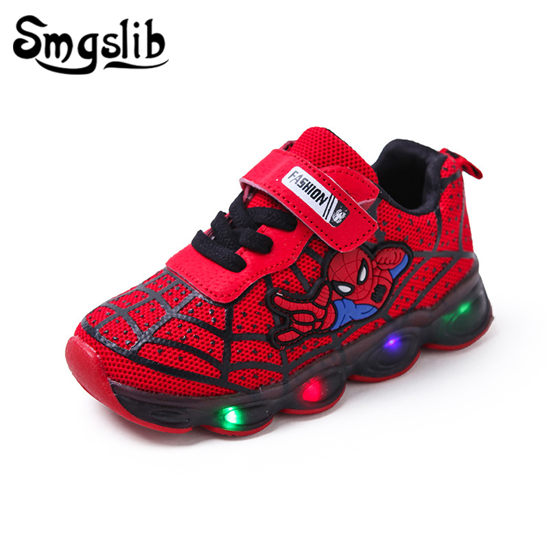 Boys Luminous Sneaker Girls Spiderman Kids Led Sports Shoes With Lights 2019 Spring Running Shoes Children Toddler Baby Shoes