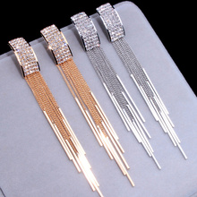2019 New Gold Color Long Crystal Tassel Dangle Earrings for Women Wedding Drop Earing Brinco Fashion Jewelry Gifts E1717