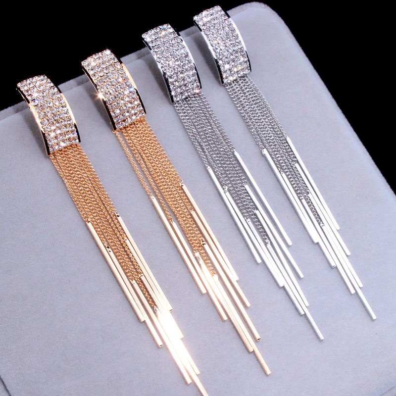 New Gold Color Long Crystal Tassel Dangle Earrings for Women Wedding Drop Earing Brinco Fashion Jewelry Gifts E1717