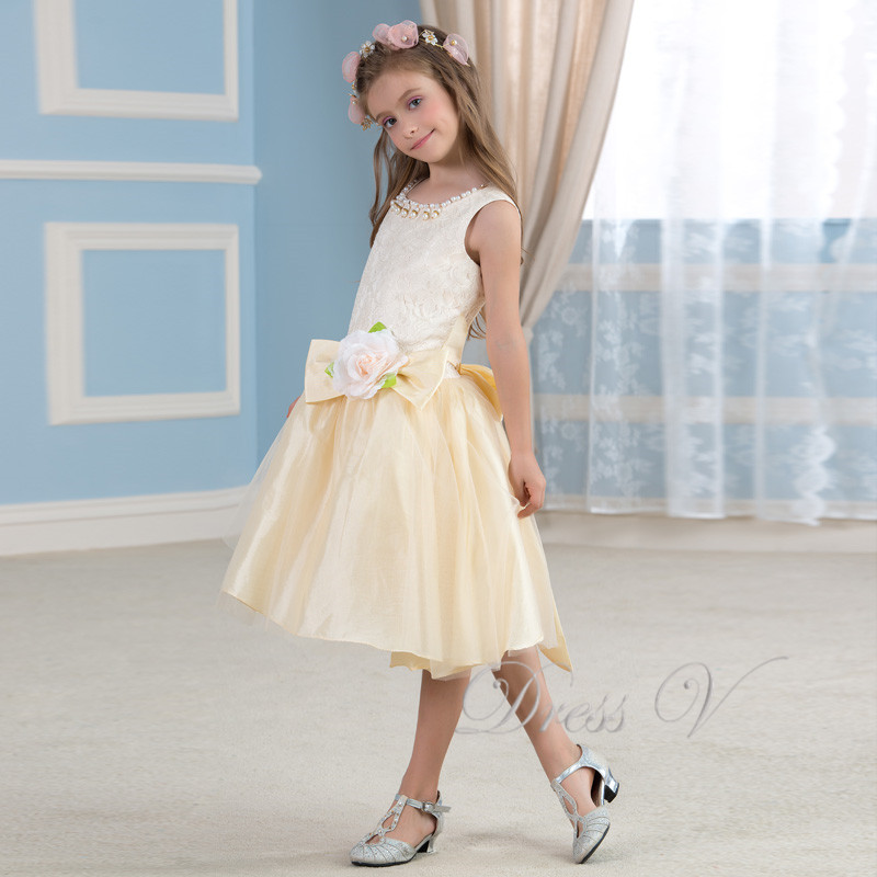 Apricot Lace Knee Length Flower Girl Dresses 2017 Organza Beauty ...