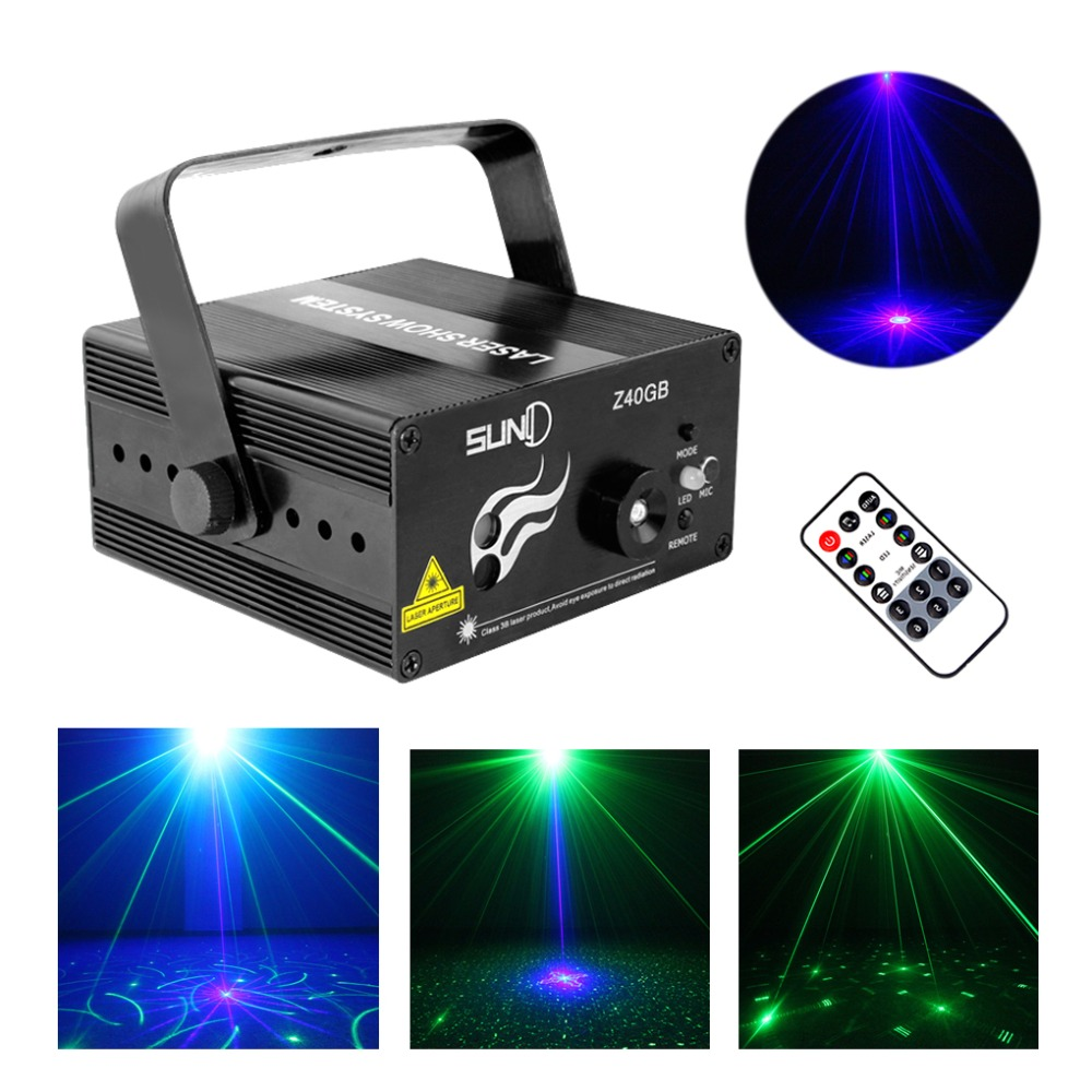 ФОТО New 2 Lens * 20 Big Patterns G&B Laser Crossover Effect Projector 3W Blue LED Mixing Effect DJ Party Stage Lighting AZ40GB