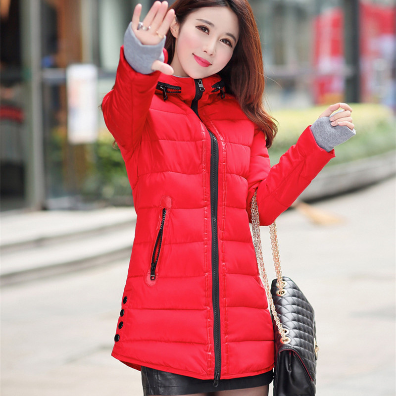 Warm Winter Jackets Women Fashion cotton padded Parkas Casual Hooded Long Coat Thicken Zipper Slim Fit Plus Size Long Parka 2019 1