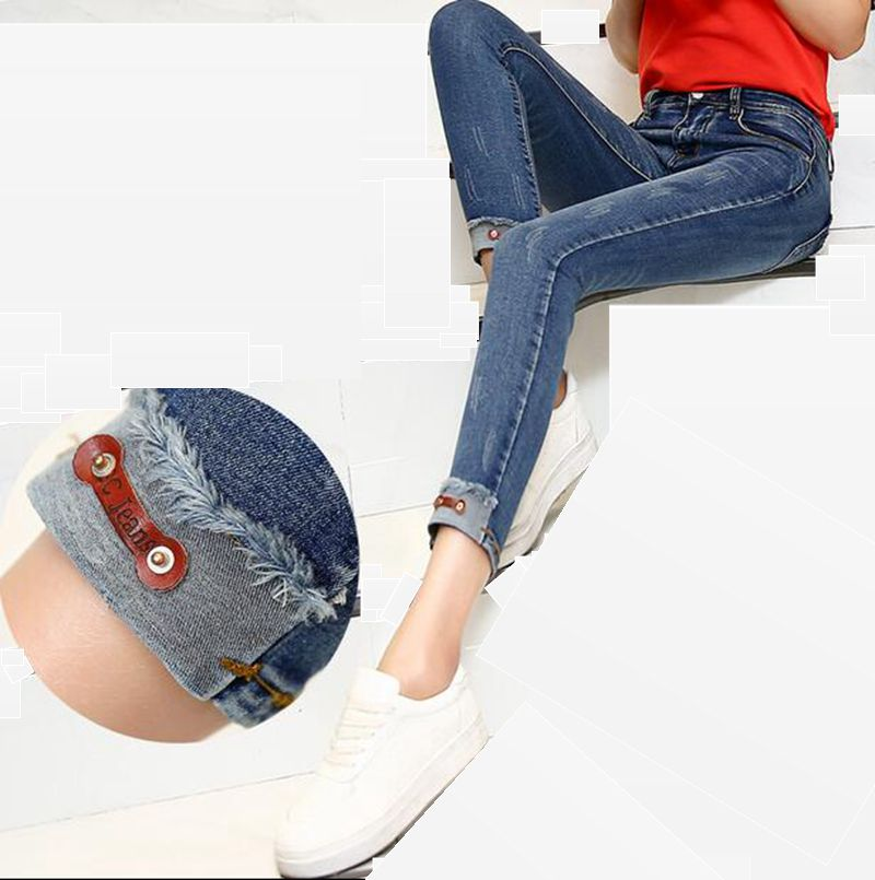 ФОТО 2016 New Spring Style Skinny Jeans Woman Street Style Patchwork Ripped Jeans Ladies Denim Pants Female Casual Pencil Pants