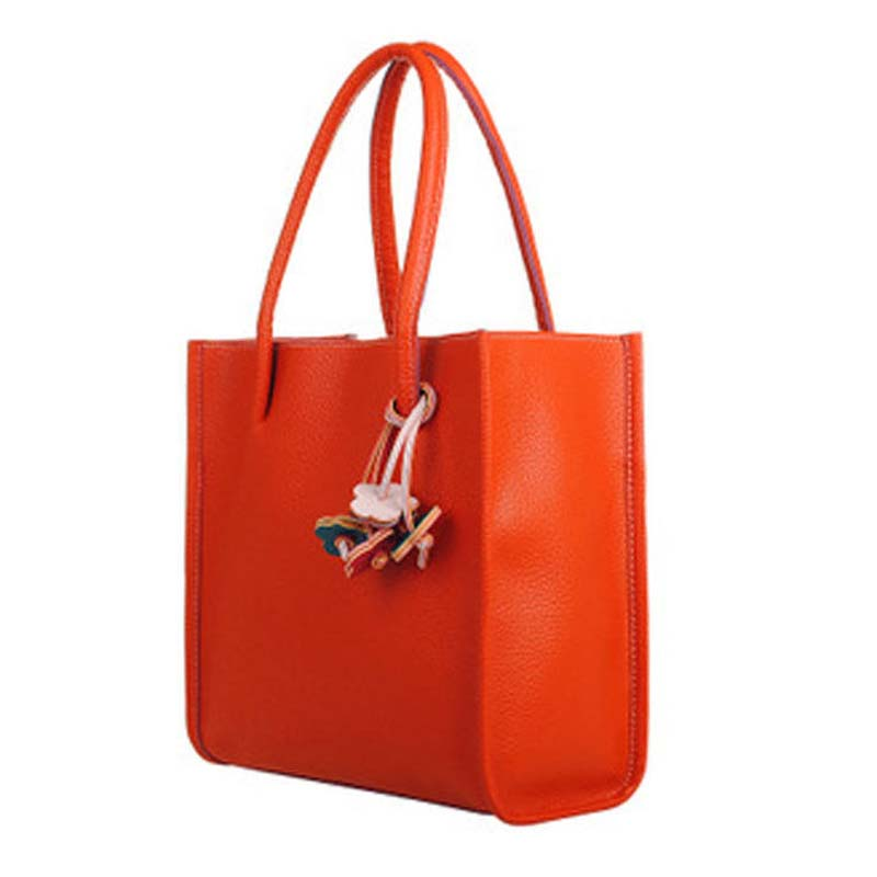 930e5d6ab49 Fashion Girls Handbags Trendy Leather Shoulder Bag Candy Color Flowers Totes  Orange