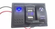 цена на Blue Led Rocker Switch Panel Dual USB Car Charger with Voltmeter Zombie Light Rocker   Switch