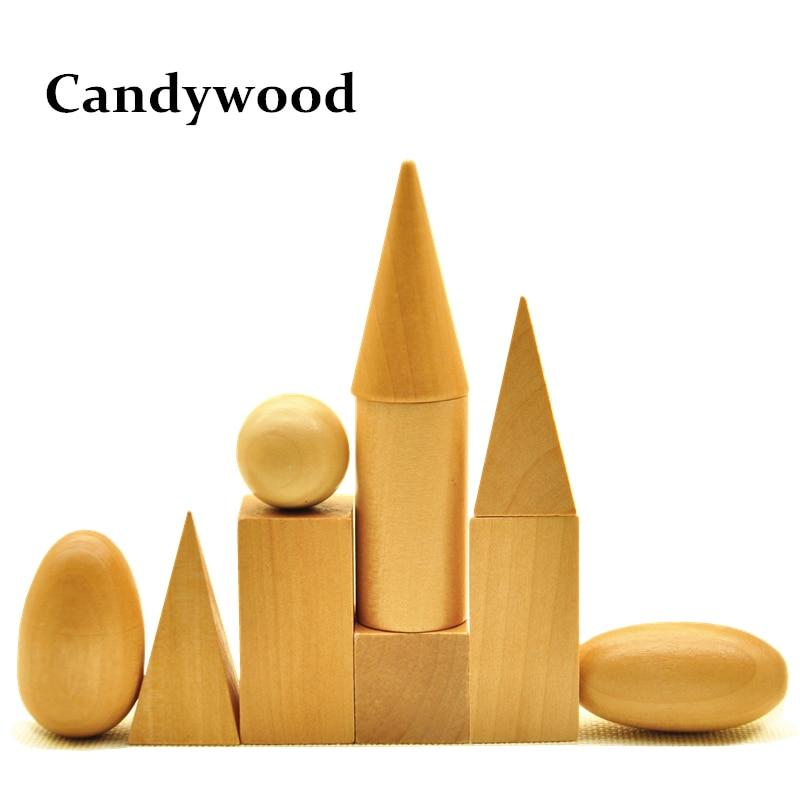 Montessori Материалдары 10Pcs / Lot Балалар Оқу Арифметикалық Ойыншықтар Ағаш Геометриялық Форма Блоктары Математикалық ойыншықтарды орнату