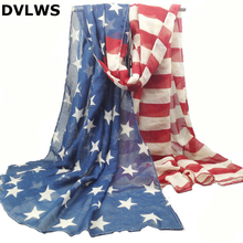 Oversized Style Vintage 100% Viscose American Flag Scarf Women USA Flag Shawls and Scarves