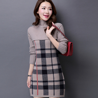 Autumn Winter Women's Cashmere Sweater Dress Plus Size Turtleneck Plaid Knitted Sweater for Women Korean Fashion Long Pullovers