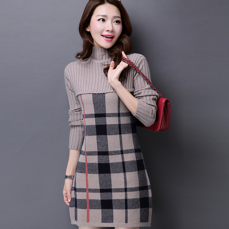 Autumn Winter Womens Cashmere Sweater Dress Plus Size Turtleneck Plaid Knitted Sweater for Women Korean Fashion Long Pullovers