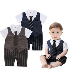 hot deal buy jxysy baby rompers new summer short jacket baby onesie baby boy jumpsuit gentleman casual cotton new year costume for boy 0-24m