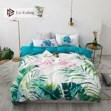 Liv-Esthete Nordic Flamingo Plant 100% Cotton Bedding Set Decor Duvet Cover Pillowcase Flat Sheet Queen King Bed Hot Sale