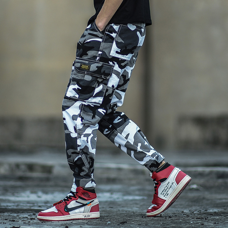 Camouflage Color Fashion Mens Jeans Ankle Length Jogger Pants Punk Style Hip Hop Jeans Homme Military Big Pocket Cargo Pants Men