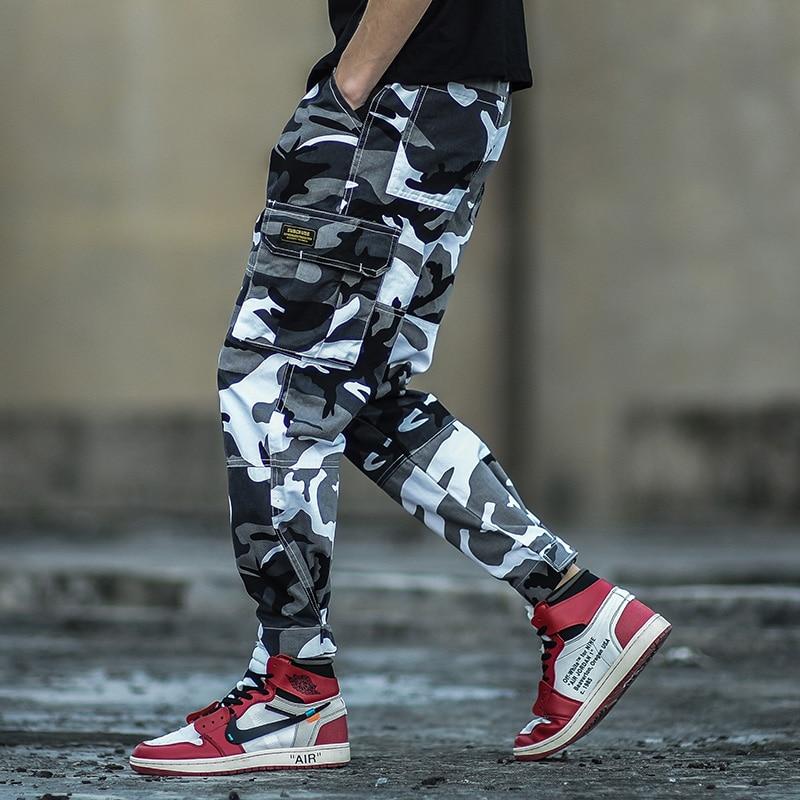 Camouflage Color Fashion Mens   Jeans   Ankle Length Jogger Pants Punk Style Hip Hop   Jeans   Homme Military Big Pocket Cargo Pants Men