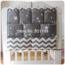 Cotton Grey Baby Bed Hanging Storage Bag Newborn Diaper Organizer Toy Pocket for Babies nursery Bedding Set 50*60CM
