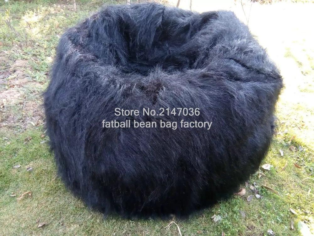 LIVING ROOM LUXURY LUSH & SOFT SHAGGY ALPACA FAUX FUR BEAN BAG POUF COVER, black long fur beanbag cover
